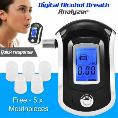 Breath Alcohol Tester Digital LCD Breathalyzer Analyzer AT6000 with 5Mouthpieces