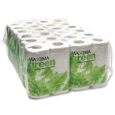 Maxima Green Toilet Rolls 2-Ply 102x92mm Pkd 4 Rolls of 200 Sheets White Pack 48