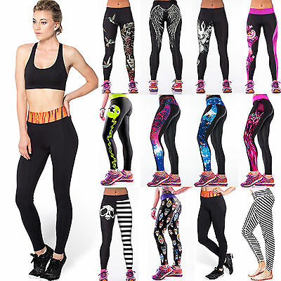 Womens Yoga Gym Sports Long Pants High Waist Fitness Jogging Running Trousers AU