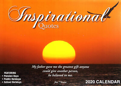 Inspirational Quotes 2020 Rectangle Wall Calendar 14 Months New Year Decor Gift