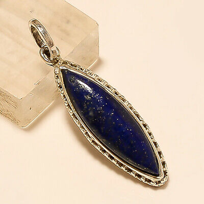Natural Afghan Lapis Lazuli Pendant 925 Sterling Silver Women Fine Jewelry Gifts
