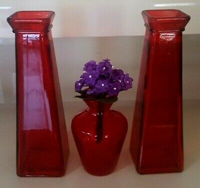 Set Of 3 Ruby Red Flower Vases Two 7.75 Inch Square And One 4 Inch Round