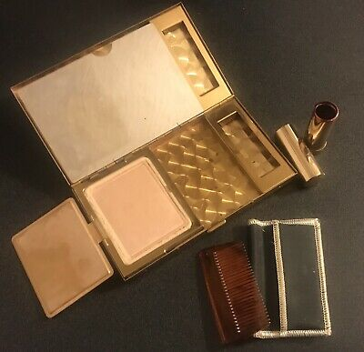 Vintage Mother Of Pearl Makeup Carrying Case Art Deco Style