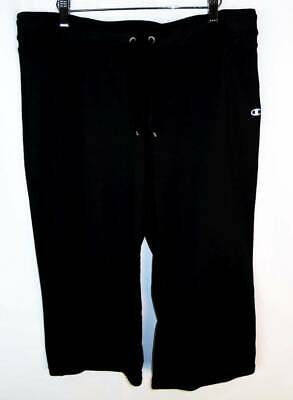 Women's Champion Elite Black Cropped Straight Leg Athletic Pants L EUC