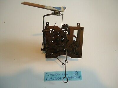 Vintage Reiner Cuckoo Clock Movement with Wooden Bird for parts or repair G