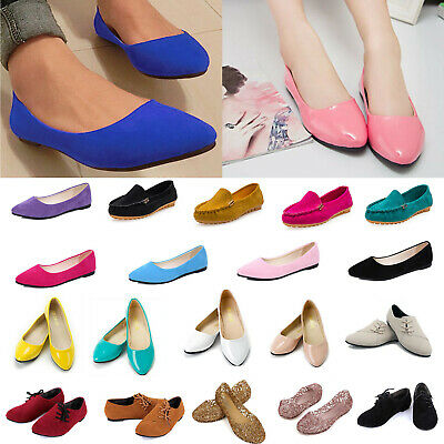 Women Ladies Ballerina Ballet Dolly Pumps Slip On Flats Boat Loafers Comfy Shoes