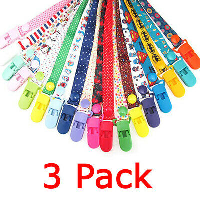Dummy Clips 3 Pack Boys / Girls - Pacifier Clip - Soother Chain - Baby Gift AU