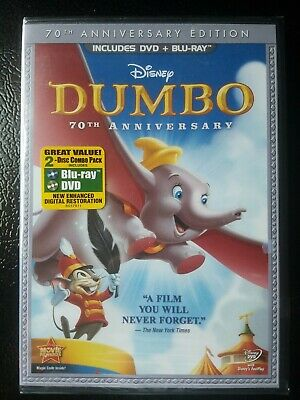 Dumbo NEW & SEALED (Blu-ray/DVD, 2011, 2-Disc Set, 70th Anniversary Edition)
