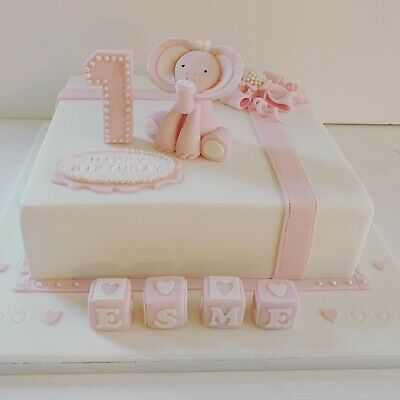 Elephant Icing Cake topper, with or without name blocks