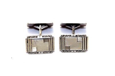 Vtg ART DECO Norway Modernist KRISTIAN HESTENES 830s Sterling Silver Cufflinks
