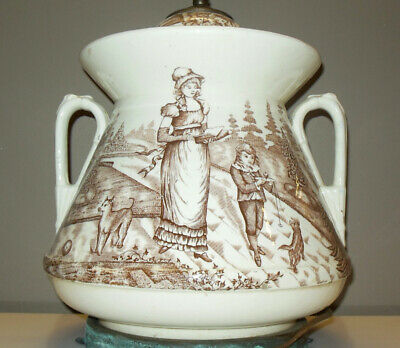 Antique VICTORIAN Large Tureen as LAMP Children DOGS Brown White Transfer