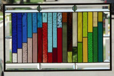 """• 36 PRETTY COLORS  •Beveled Stained Glass Window Panel • 21 1/2"""" x 13 1/2"""""""