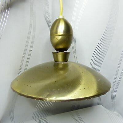 Vintage Mid-Century Union Metal Retractable Pull Down Saucer UFO Ceiling Lamp