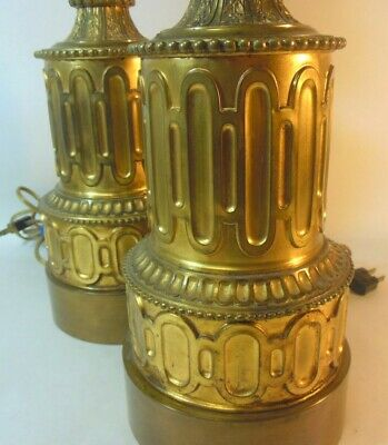 Antique Pair FRENCH Converted Oil Lamps Empire Regency Directoire Brass Bronze