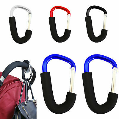 2X Coloured Buggy Clips Large Pram Pushchair Shopping Bag Hook Carry Clip