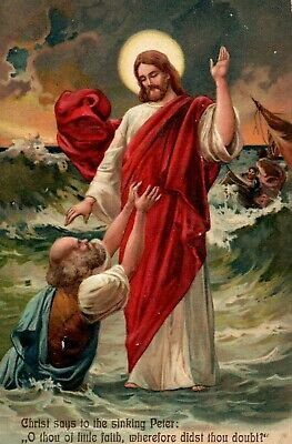 C.1910 Embossed Jesus Walking on Water Peter Postcard P50