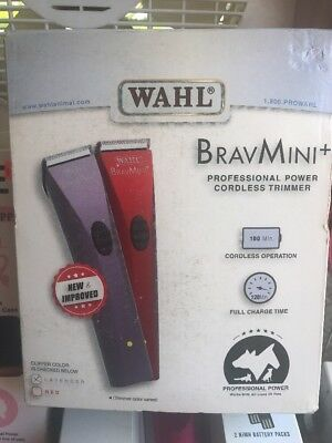 Wahl BravMini+ Cordless Rechargeable Dog Cat Pet Trimmer Groomer color RED New!