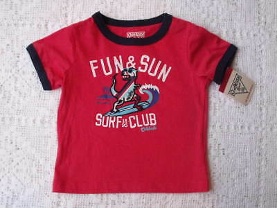 boys Red Dinosaur surf Shirt short sleeve size 12 months OshKosh B'Gosh new tags