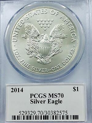 2014 FIRST STRIKE Silver Eagle Mercanti Signed Flag Label PCGS MS70