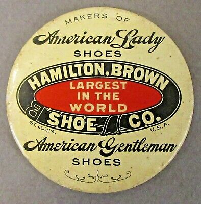 c. 1910 AMERICAN LADY HAMILTON BROWN SHOE CO. celluloid pocket mirror ^