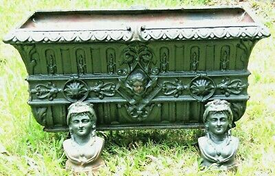UNIQUE 19th CENTURY CAST IRON GARDEN PLANTER 4 INDIVIDUAL CAST FEET !! L@@K !!