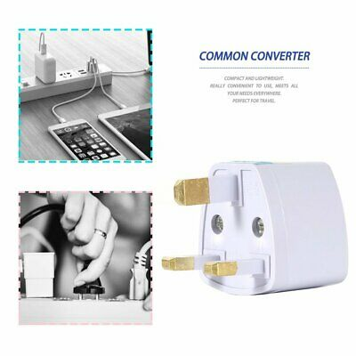 White Universal EU / USA / Australia to UK AC Power Travel Plug Adapter Socket@