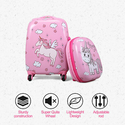 """2Pc 12"""" 16"""" Kids Luggage Set Suitcase Backpack School Travel Trolley ABS"""