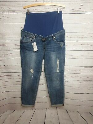 ASOS maternity boyfried jeans size 12 distressed tears over bump cuffed #602