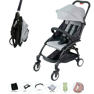 2019 Black Easy to Fold Travel Pram with all Accessories Carry-on Plane Stroller
