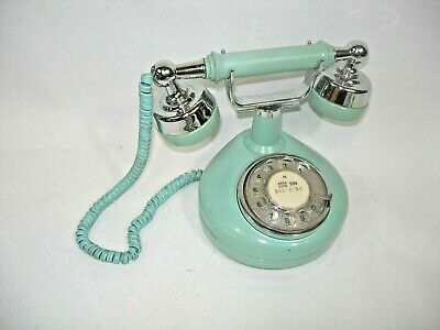 Vintage Rotary Dial Telephone French Princess Style Phone Aqua Turquoise Deco