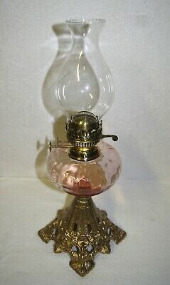 Art Nouveau Internally Ribbed Cranberry/Pink Orchid Base Kerosene Oil Lamp