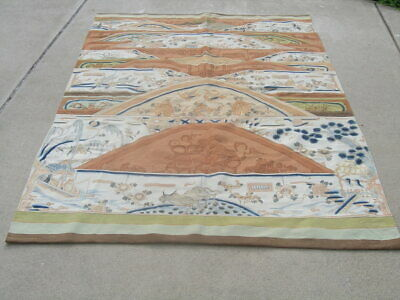 """Exceptional Antique Mongolian Kilim Pictorial Tapestry 58x91"""" 148x232cm Overall"""