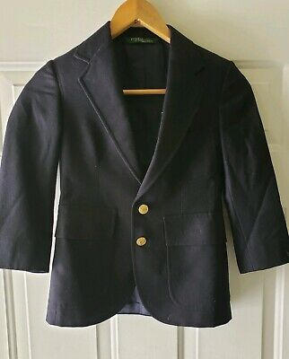 Polo Ralph Lauren Navy Casual Blazer Suit Jacket Size Youth Boys 9 Regular Gold