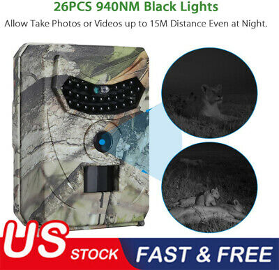 1080P 12MP HD Hunting Trail Camera Video Wildlife Scouting Infrared Night Vision
