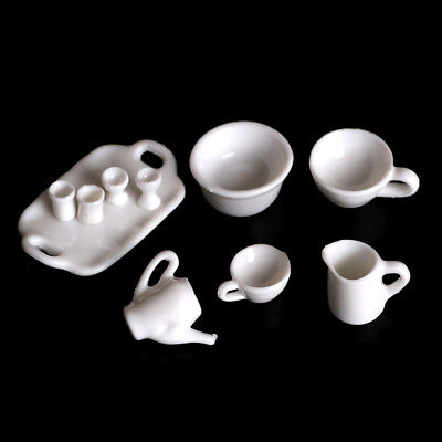 10pcs Dollhouse Miniature Dining Ware Tea Set Dish Cup PlateJH