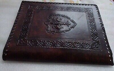 Vintage Brown Embossed Fleur de lis Hand Tooled Leather Book Journal Cover Italy