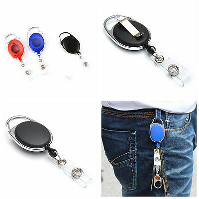 1x Retractable Reel Recoil ID Badge Lanyard Name Tag Key Card Holder Belt Clips