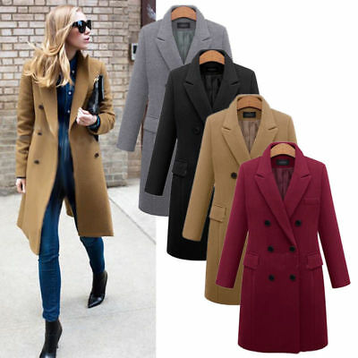 Plus Size Womens Wool Lapel Long Double-Breasted Coat Winter Jacket Overcoat Top