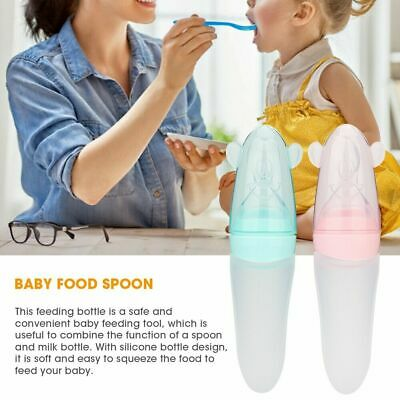 Best Baby Silicone Squeezing Feeding Spoon Portable Food Supplement Feeder