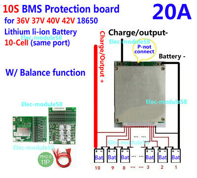 10S 36V 20A BMS PCB PCM for ebike electric bicycle 18650 Li-ion LIPO battery