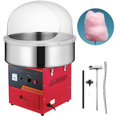 Cotton Candy Machine Kit w/Cover Stepless Temp Party 1030w Stainless Steel Floss