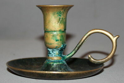 Antique Victorian Solid Brass Candlestick Candle Holder With Tray