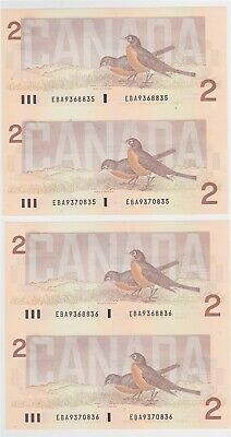 $2 Canadian Two Consecutive Uncut Pairs. Birds Series P94b Uncirculated