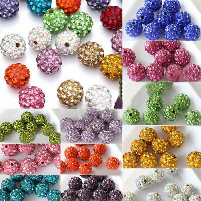 100Pcs Crystal Rhinestones Shamballa Beads Clay Round Disco Ball Spacer Beads CA