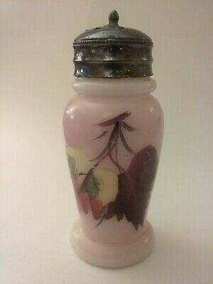 Antique Pearl Opalware Bulbous Mold Blown Shaker, Hand Painted,  Mt. Washington