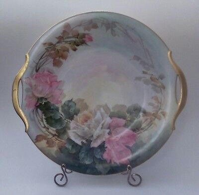 American Antique Signed Sherratts, Hand Painted Roses, Serving Plate W/ Handles