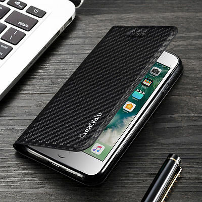 Magnetic Carbon Leather Flip Wallet Phone Case Cover for Apple iPhone X 8 7 6 5s