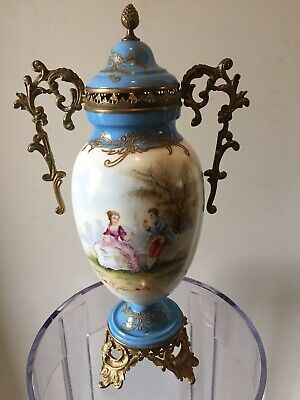 ANTIQUE FRENCH PORCELAIN LIDDED URN WITH ORMOLU  HANDLES sign MOREAU