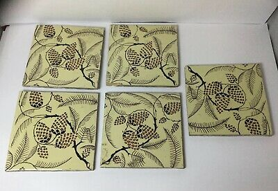 5 X Beautiful Ceramic Tiles - Antique Hand Painted, Fir Cones , Each Different