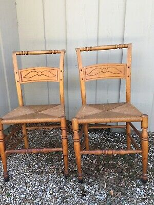 Antique Pair Wood Chairs Rush Seats Two Primitive Vintage Chairs Rush Seats Xc